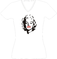 T-Shirt Lady V-Neck  Marylin Monroe Kopf